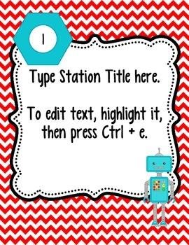 Editable Station Signs - Robot Theme
