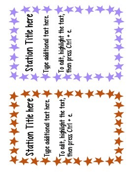 Editable Station Signs - STAAR Test Theme