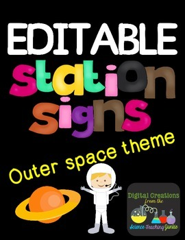 Editable Station Signs - Space Theme