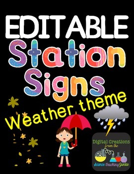 Editable Station Signs - Weather Theme