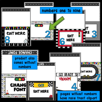 Editable Station Signs for Open House | Meet the Teacher | Race Track Decor
