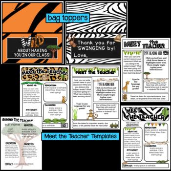 Editable Station Signs for Open House   Meet the Teacher   Safari Theme Decor