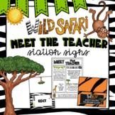 Editable Station Signs for Open House | Meet the Teacher | Safari Class Decor