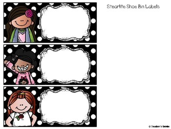 Editable Stearlite Shoe Bin Labels