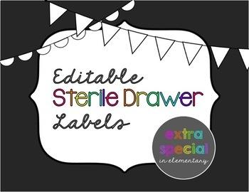 Editable Sterile 3-Drawer Labels: Neon Chalkboard Themed