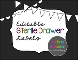 Editable Sterile 3-Drawer Labels: Neon Chalkboard Themed
