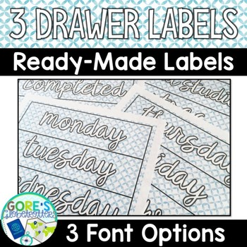 Editable Sterilite 3 Drawer Labels - Blue Watercolor