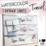 Editable Sterilite 3-Drawer Labels | Travel Theme
