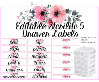 Editable Sterilite 5 Drawer Labels