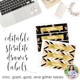Editable Sterilite Drawer Labels {Chic, Glam, Gold, Glitte