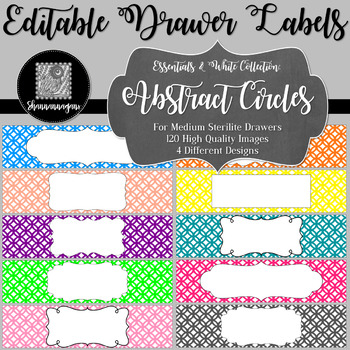 Editable Sterilite Drawer Labels - Essentials & White: Abstract Circles