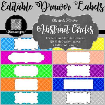 Editable Sterilite Drawer Labels - Basics: Abstract Circles