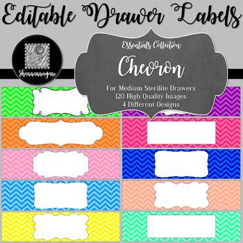 Editable Sterilite Drawer Labels - Basics: Chevron