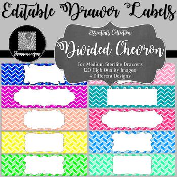 Editable Sterilite Drawer Labels - Essentials: Divided Chevron