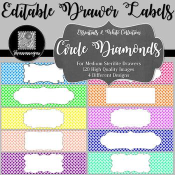 Editable Sterilite Drawer Labels - Essentials & White: Circle Diamonds