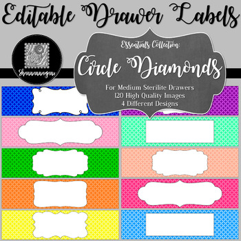 Editable Sterilite Drawer Labels - Basics: Circle Diamonds
