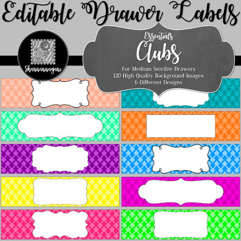 Editable Sterilite Drawer Labels - Essentials: Clubs