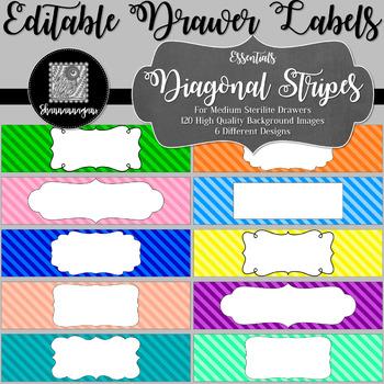 Editable Sterilite Drawer Labels - Basics: Diagonal Stripes