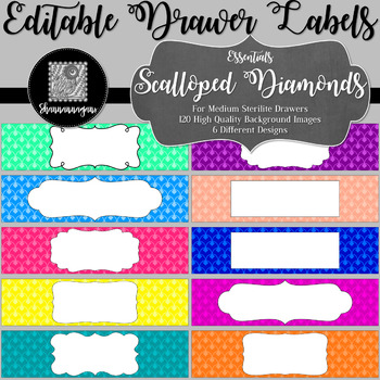 Editable Sterilite Drawer Labels - Essentials: Scalloped Diamonds