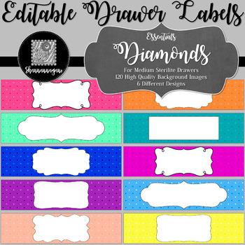 Editable Sterilite Drawer Labels - Essentials: Diamonds