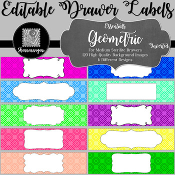 Editable Sterilite Drawer Labels - Essentials: Geometric (Inverted)