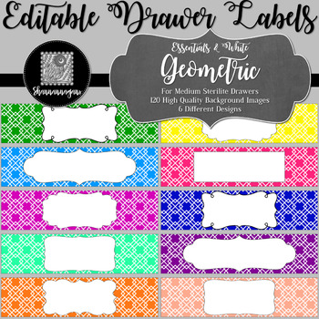 Editable Sterilite Drawer Labels - Essentials & White: Geometric