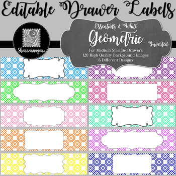Editable Sterilite Drawer Labels - Essentials & White: Geometric (Inverted)