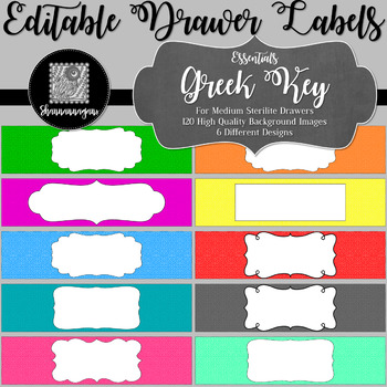 Editable Sterilite Drawer Labels - Basics: Greek Key