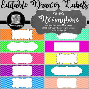Editable Sterilite Drawer Labels - Essentials: Herringbone