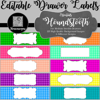 Editable Sterilite Drawer Labels - Basics: Houndstooth