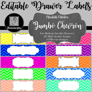 Editable Sterilite Drawer Labels - Basics: Jumbo Chevron
