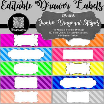 Editable Sterilite Drawer Labels - Basics: Jumbo Diagonal Stripes