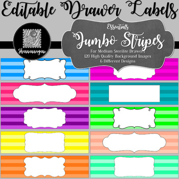 Editable Sterilite Drawer Labels - Basics: Jumbo Stripes