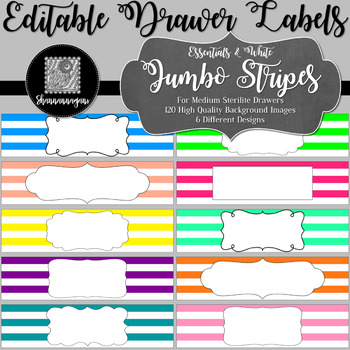 Editable Sterilite Drawer Labels - Basics: Jumbo Stripes and White