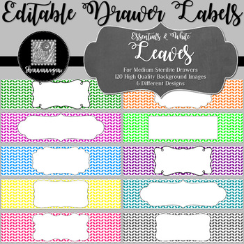 Editable Sterilite Drawer Labels - Essentials & White: Leaves