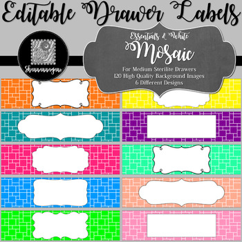 Editable Sterilite Drawer Labels - Essentials & White: Mosaic