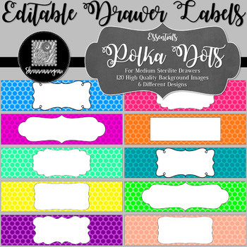 Editable Sterilite Drawer Labels - Basics: Polka Dots
