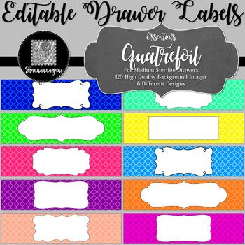 Editable Sterilite Drawer Labels - Essentials: Quatrefoil