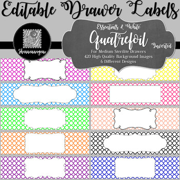 Editable Sterilite Drawer Labels - Essentials & White: Quatrefoil (Inverted)