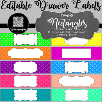 Editable Sterilite Drawer Labels - Essentials: Rectangles