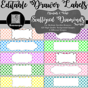 Editable Sterilite Drawer Labels - Essentials & White: Scalloped Diamonds-Invert