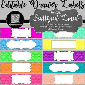 Editable Sterilite Drawer Labels - Basics: Scalloped Lined