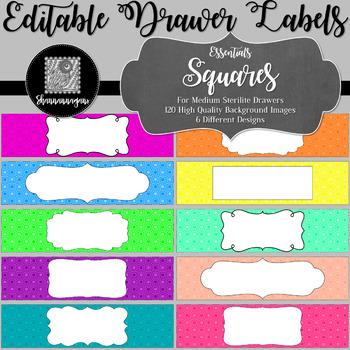 Editable Sterilite Drawer Labels - Essentials: Squares