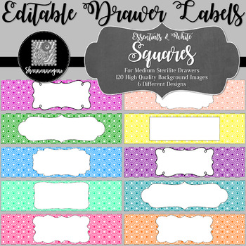 Editable Sterilite Drawer Labels - Essentials & White: Squares
