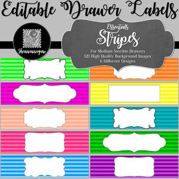 Editable Sterilite Drawer Labels - Basics: Stripes