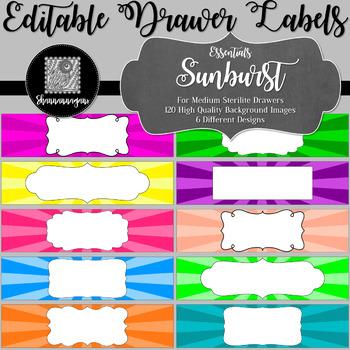 Editable Sterilite Drawer Labels - Basics: Sunburst