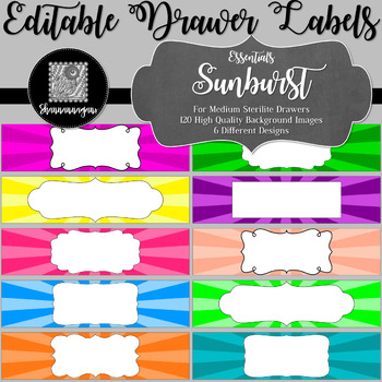 Editable Sterilite Drawer Labels - Essentials: Sunburst