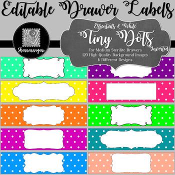 Editable Sterilite Drawer Labels - Essentials & White: Tiny Dots (Inverted)