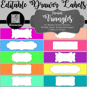 Editable Sterilite Drawer Labels - Basics: Triangles