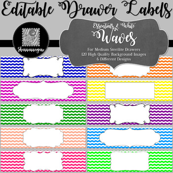 Editable Sterilite Drawer Labels - Basics: Waves and White